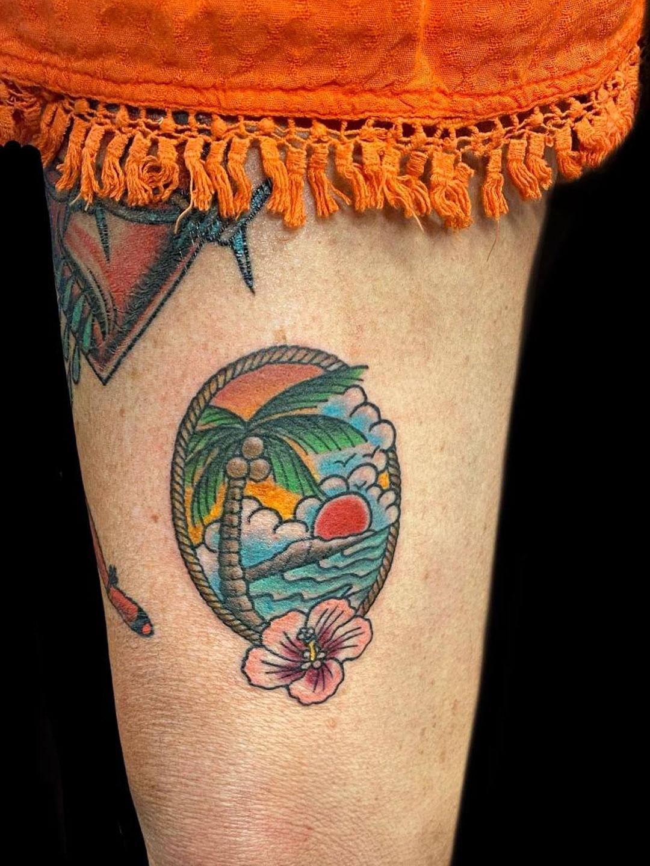 Hawaiian tattoo beach scene